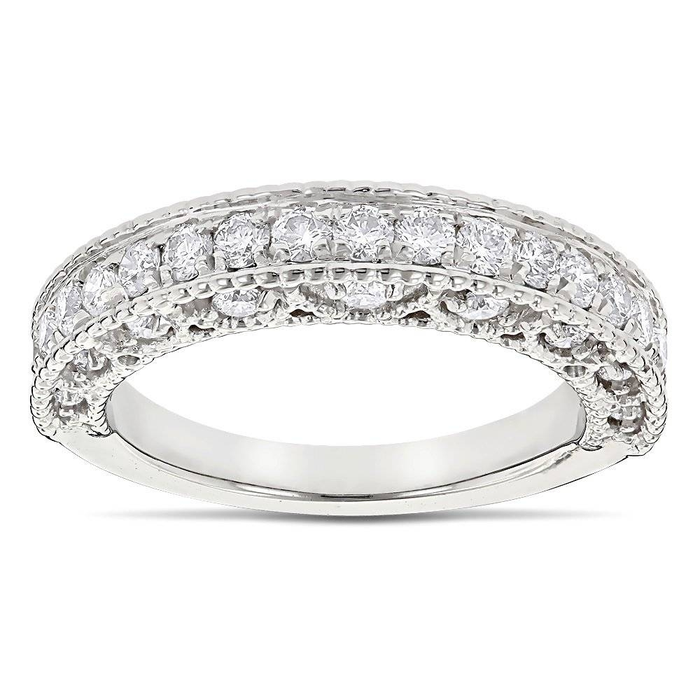 & Filigree Designer Diamond Wedding Band For Her 1 Carat 14K Gold In Millgrain Wedding Bands (View 1 of 15)