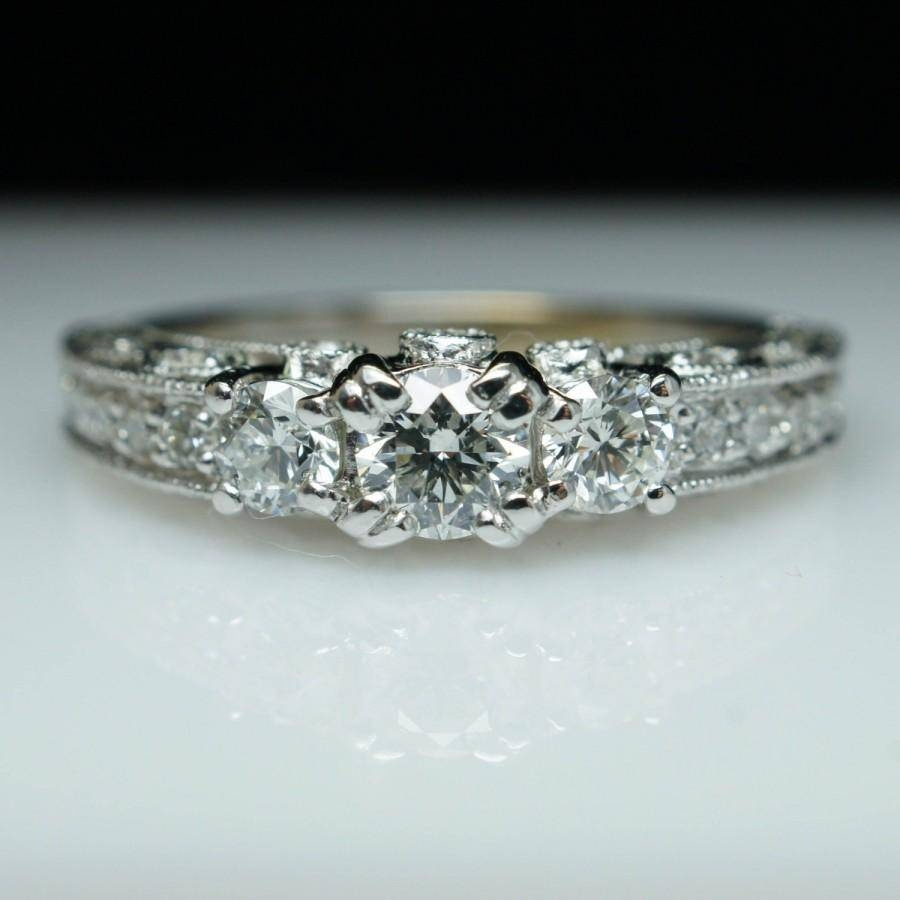 Filigree Diamond Engagement Ring 3 Stone Vintage Engagement Ring In Latest Vintage Engagement Rings And Wedding Bands (View 6 of 15)