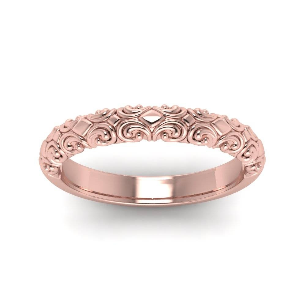 Filigree Intricate Wedding Band In 14K Rose Gold | Fascinating For Best And Newest Rose Gold Platinum Wedding Bands (Gallery 3 of 15)