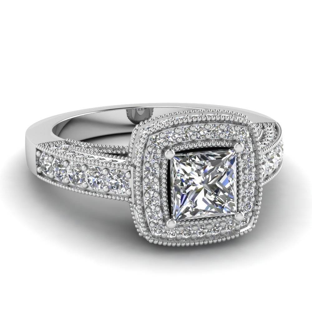 Filigree Shank 1.50 Ct. Princess Cut Pave Halo Diamond Engagement With Vintage Princess Cut Wedding Rings (Gallery 6 of 15)