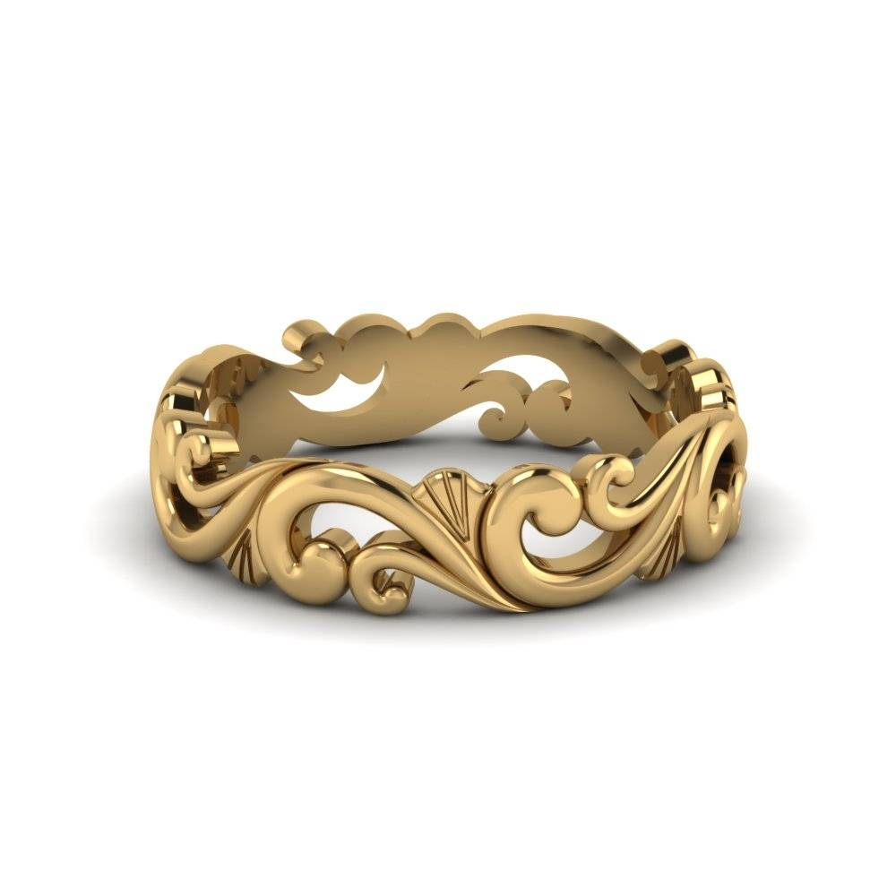 Filigree Simple Wedding Band For Women In 14k Yellow Gold Inside Women's Plain Wedding Bands (View 7 of 15)