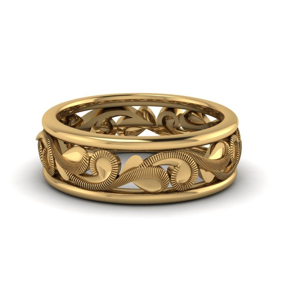 Filigree Two Tone Mens Wide Wedding Band In 14K Yellow Gold Within Recent 14K Yellow Gold Mens Wedding Bands (View 9 of 15)