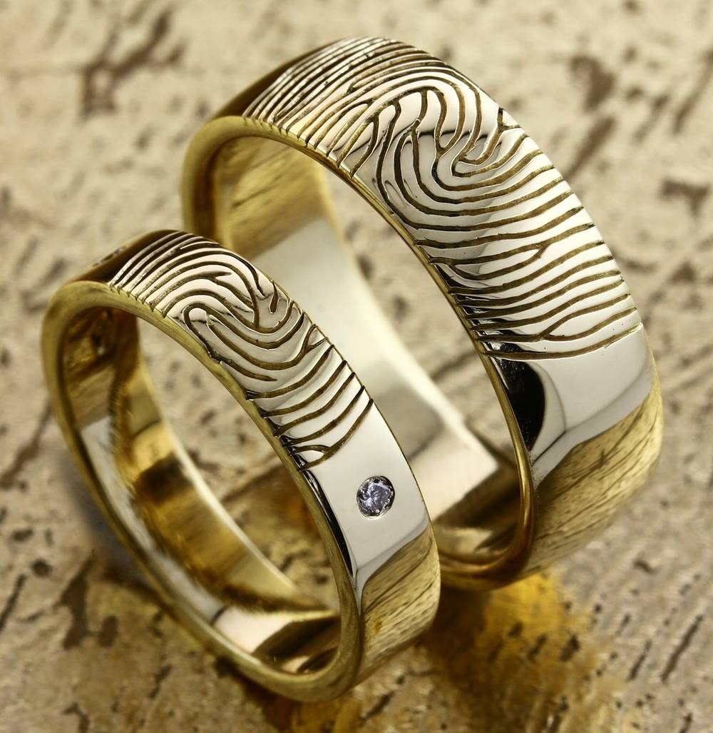 Fingerprint Wedding Rings In Dubai — Customised Engagement Rings Regarding Finger Print Wedding Rings (View 10 of 15)