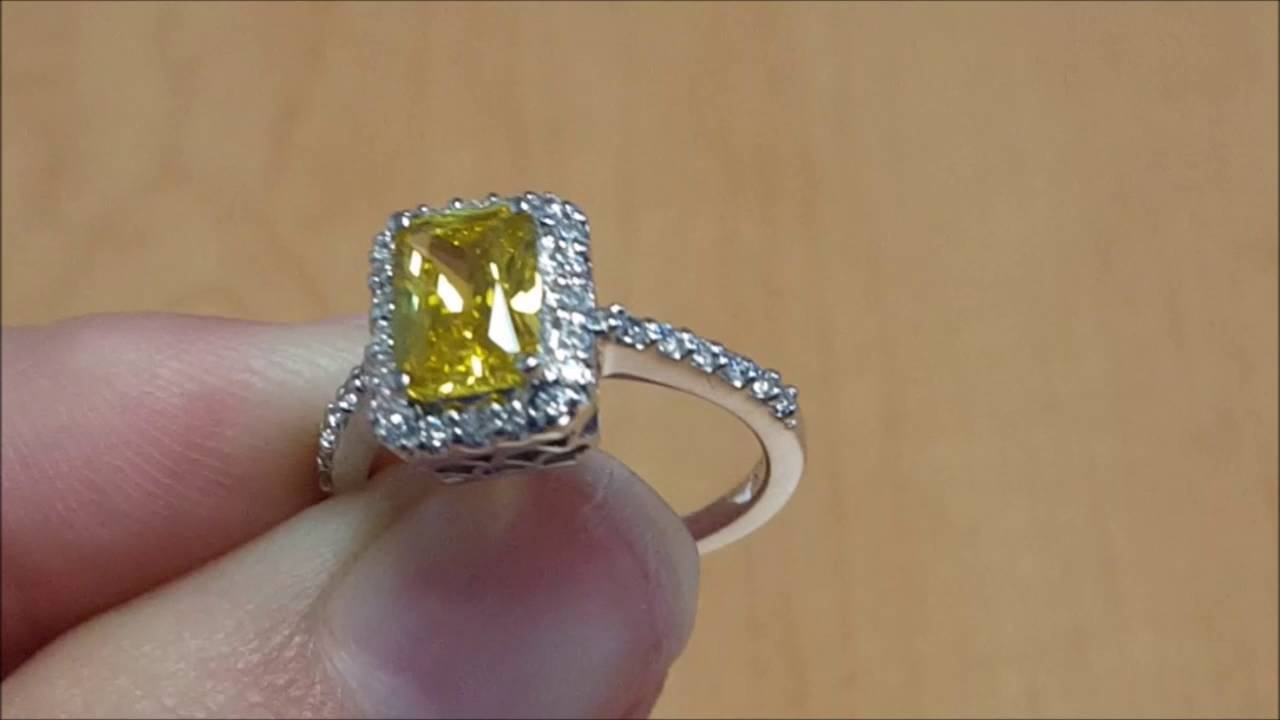 First Moon Engagement Ring With Canary Yellow Radiant Eco Diamond Within Eco Diamond Engagement Rings (View 5 of 15)
