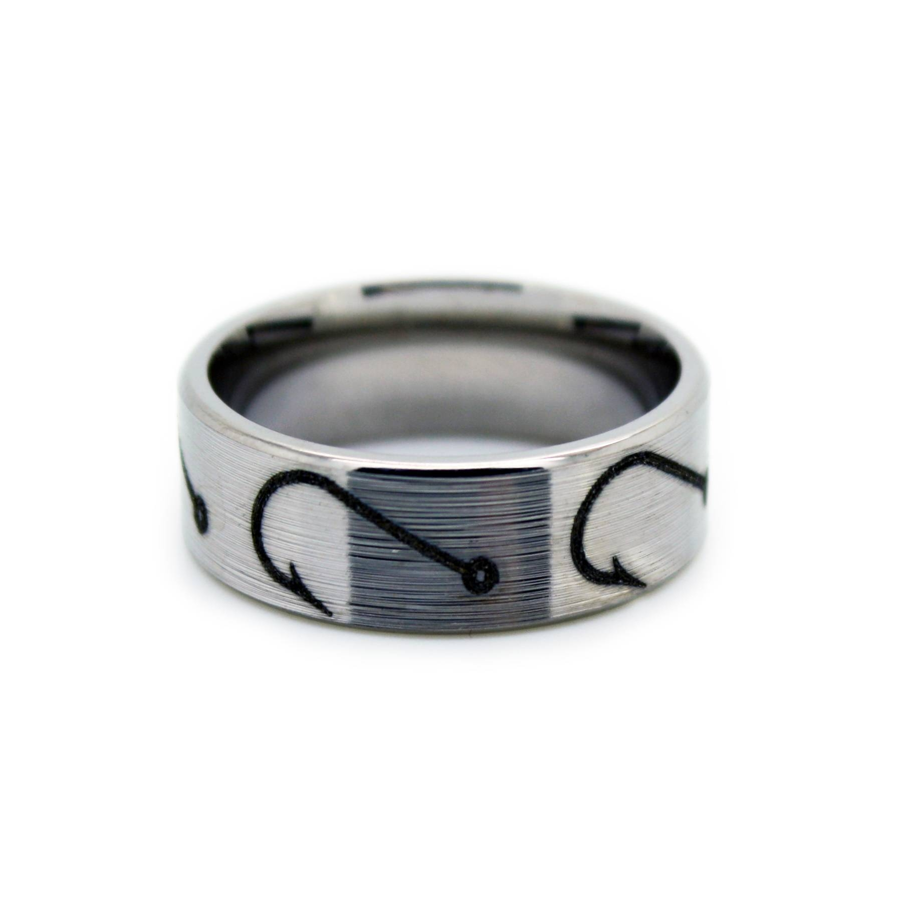 Fishing Hook Wedding Rings – Fish Hook Bandone Camo Pertaining To Titanium Mens Wedding Rings (Gallery 15 of 15)