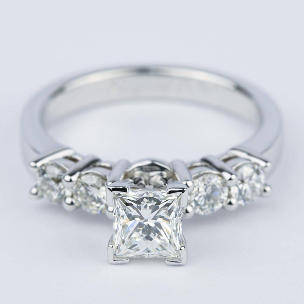 Five Diamond Engagement Ring With Princess Cut Diamond With Five Diamond Engagement Ring (Gallery 4 of 15)