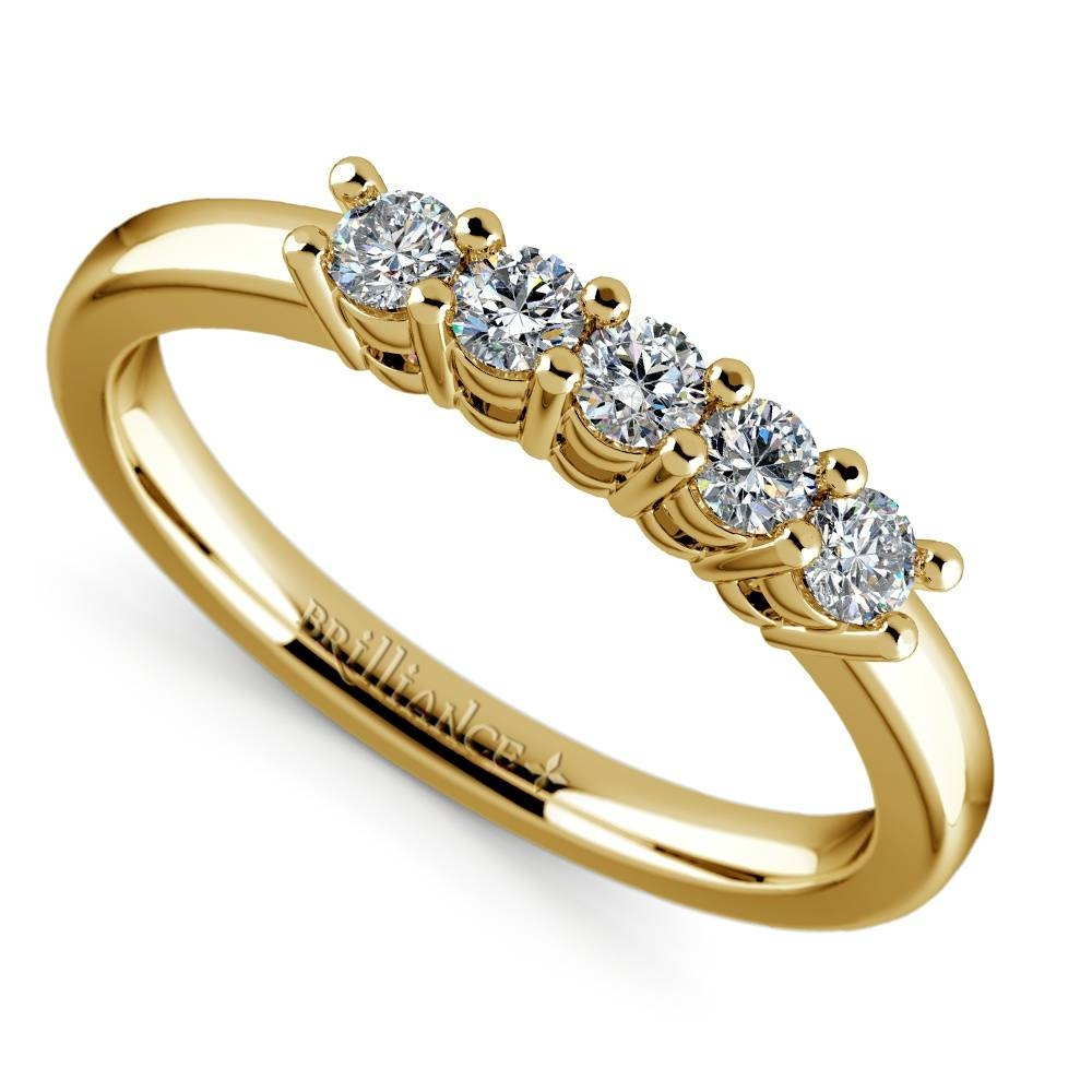 Five Diamond Wedding Ring In Yellow Gold Intended For Most Current Five Diamond Wedding Bands (Gallery 7 of 15)