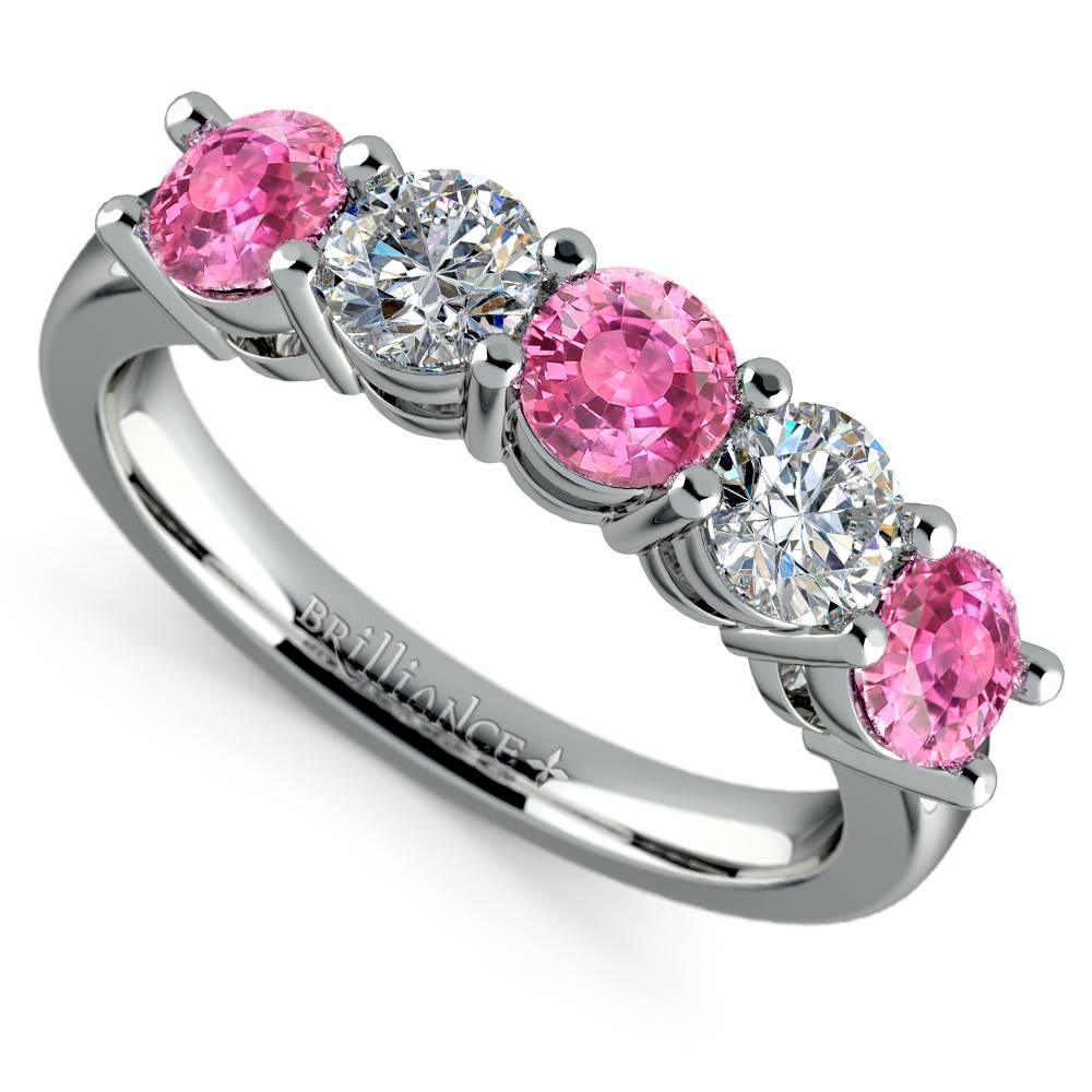 Five Pink Sapphire And Diamond Wedding Ring In Platinum (1 1/2 Ctw) Regarding Recent Pink Sapphire Diamond Wedding Bands (View 8 of 15)