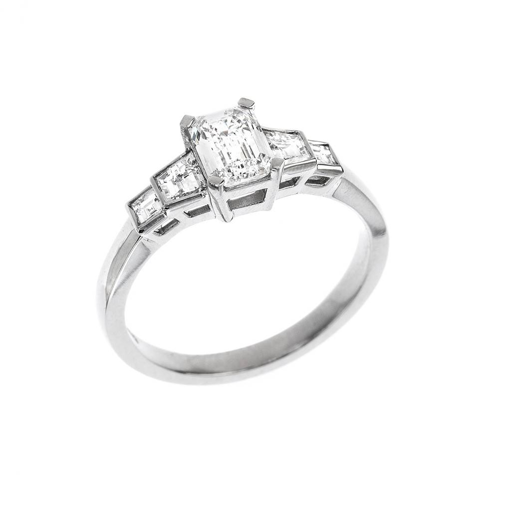 Five Stone Emerald, Trapeze & Square Cut Diamond Engagement Ring Pertaining To Five Diamond Engagement Ring (View 7 of 15)