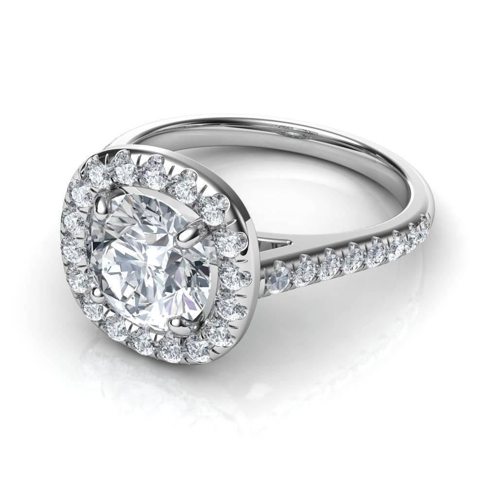 Floating Cushion Shape Halo Diamond Engagement Ring With Floating Diamond Engagement Rings (View 6 of 15)