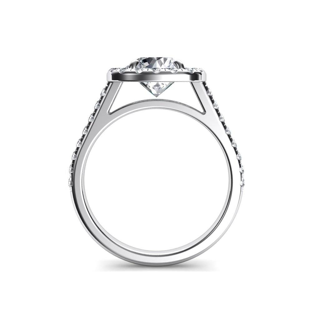 Floating Halo Cushion Cut Diamond Engagement Ring In Floating Diamond Engagement Rings (View 8 of 15)