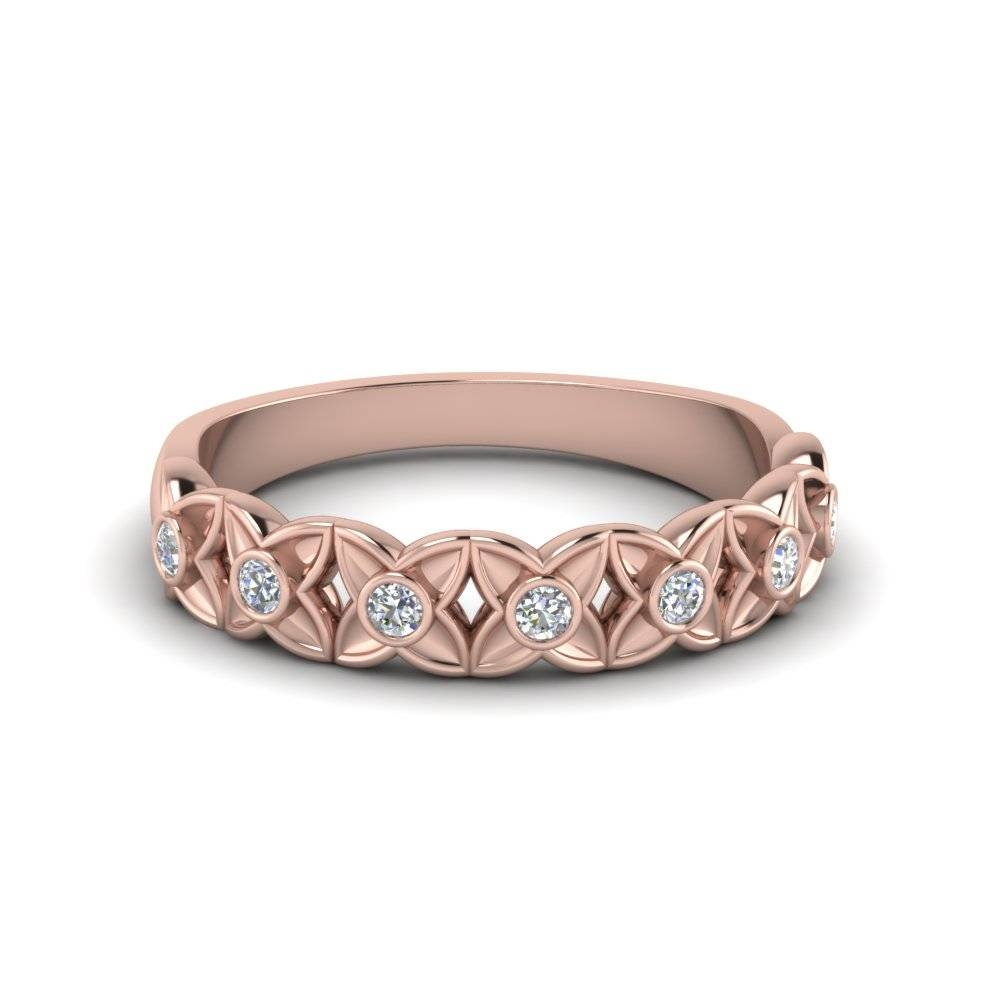 Floral Diamond Wedding Band In 14K Rose Gold | Fascinating Diamonds Pertaining To Rose Gold Diamond Wedding Bands (Gallery 3 of 15)