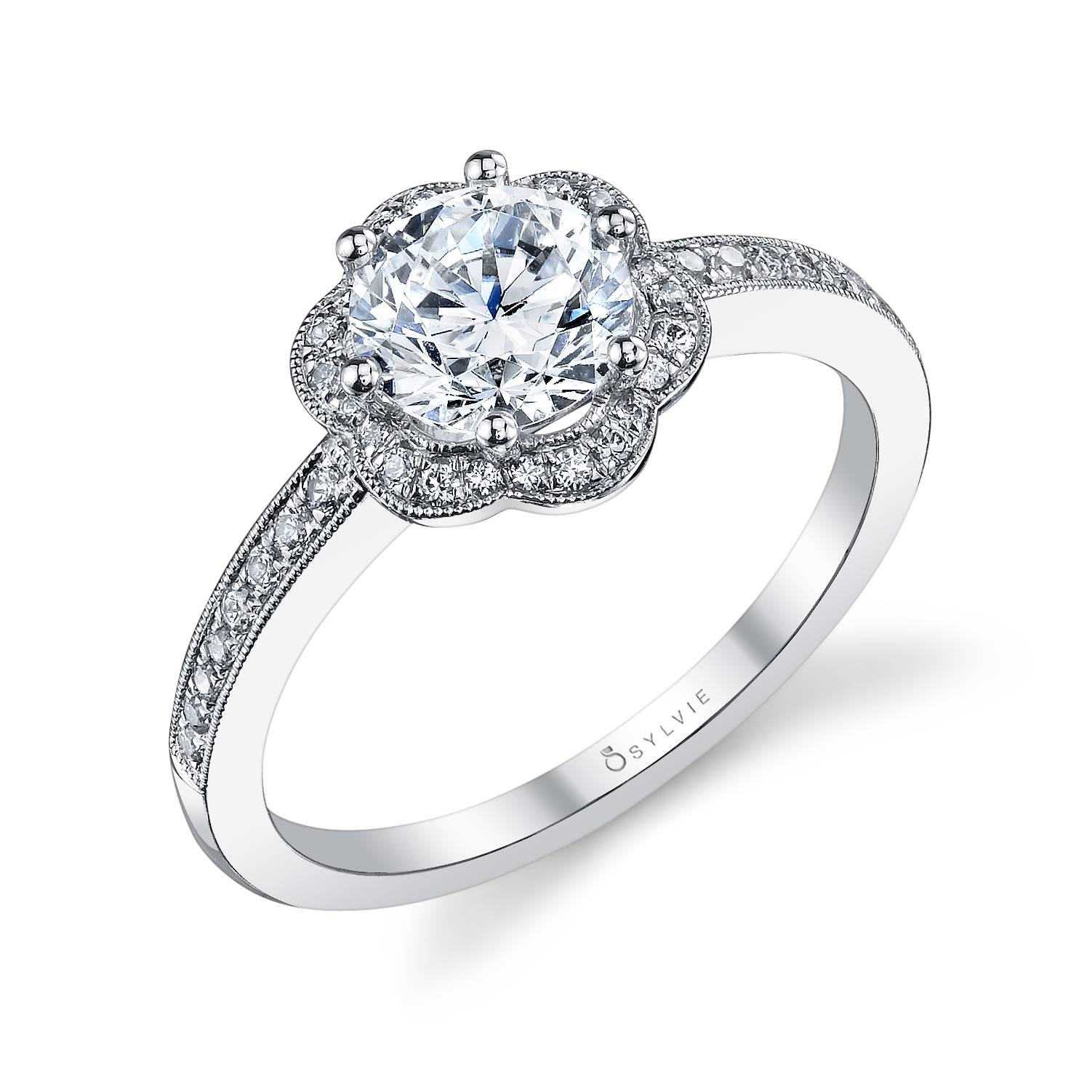 Flower Halo Prong Set Engagement Ring – Alexis Diamond Housealexis Regarding Jewelry Stores Wedding Rings (View 12 of 15)