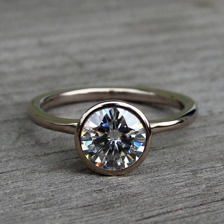 Forever Brilliant Moissanite And Recycled 18K Palladium White Gold With Regard To Eco Diamond Engagement Rings (View 6 of 15)