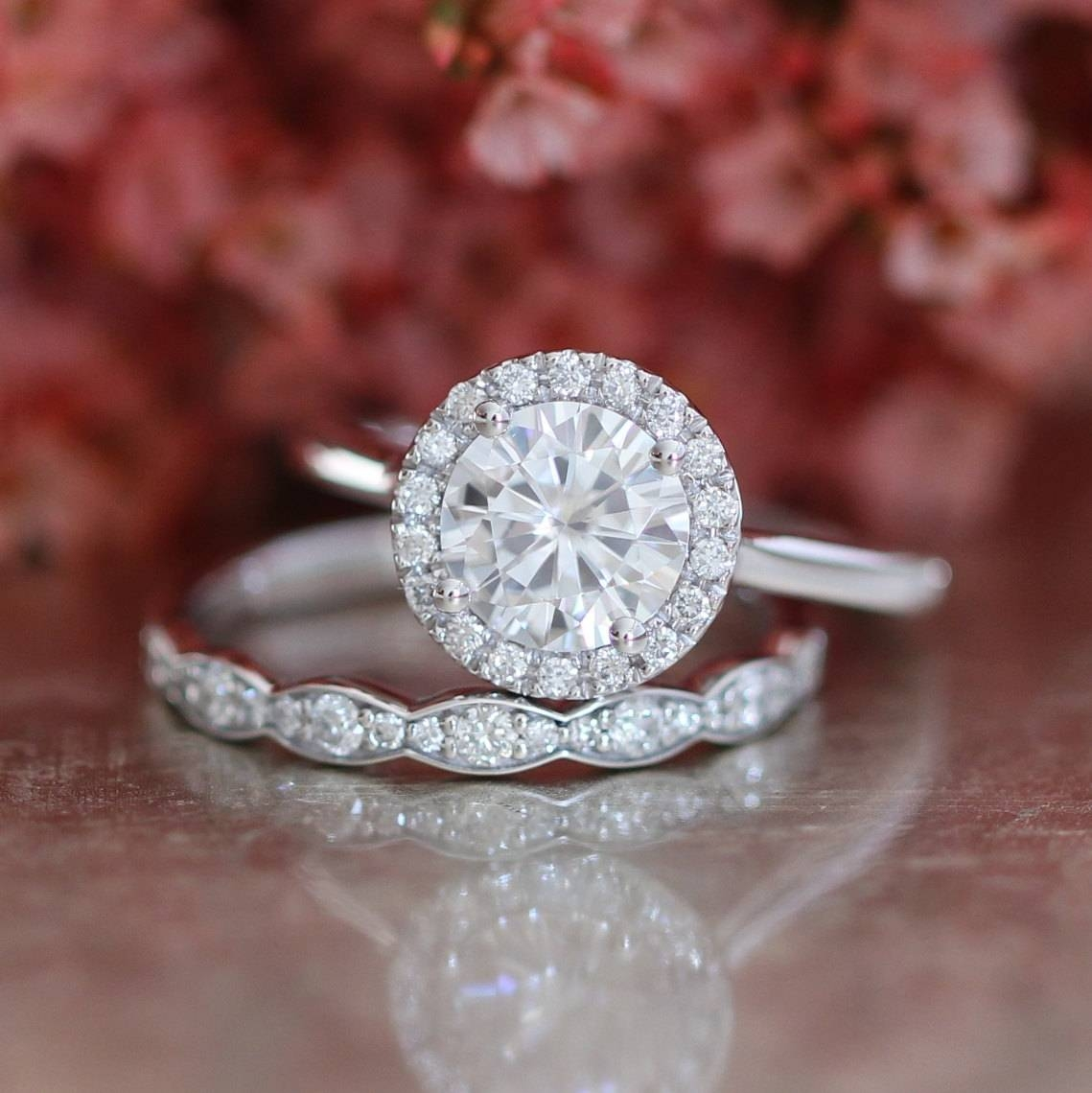 Forever One Moissanite Engagement Ring And Scalloped Diamond Regarding Wedding Bands For Round Solitaire Engagement Ring (Gallery 13 of 15)