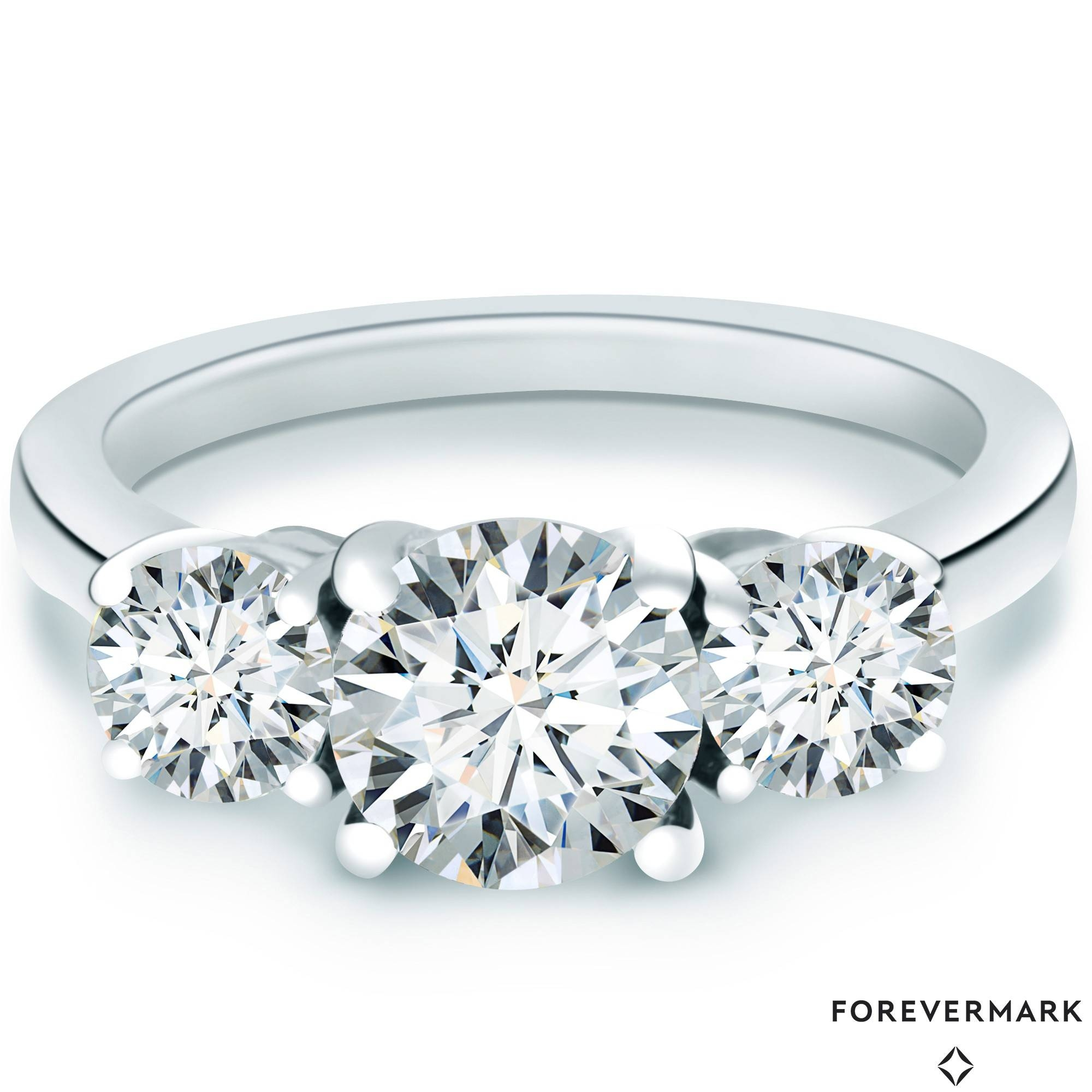 Forevermark Diamond Three Stone Engagement Ring In 18Kt White Gold Within Three Stone Engagement Rings With Side Stones (View 3 of 15)
