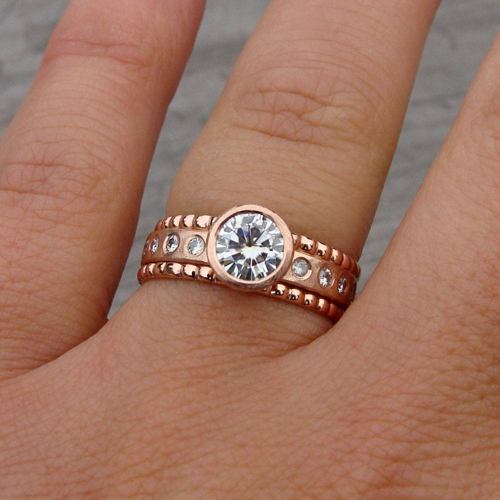 Frederic Goodman Rose Gold Trending Pretty In Pink Silver For Gold Wedding Band With Silver Engagement Ring (View 4 of 15)