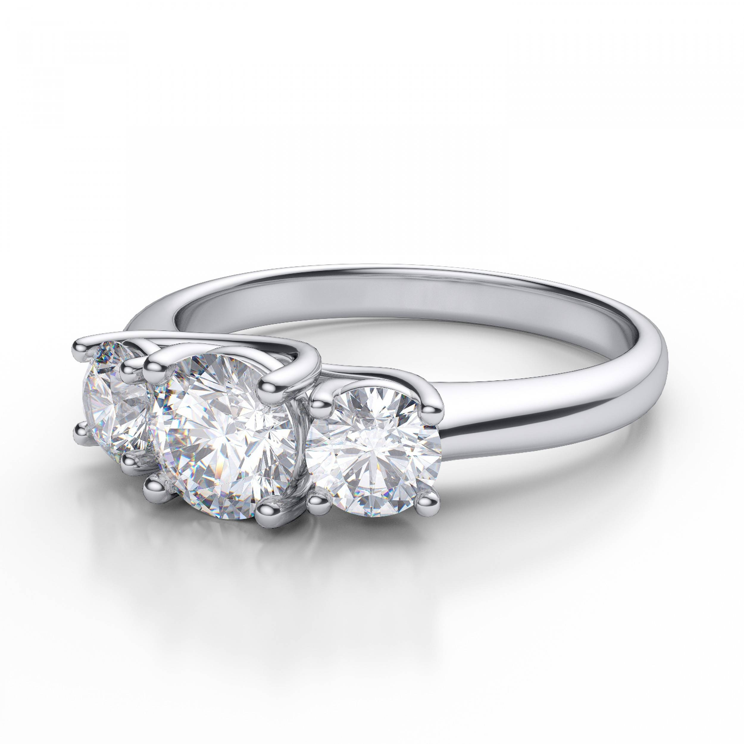 Free Diamond Rings. 3 Stone Diamond Ring Settings: 3 Stone Diamond Inside Three Stone Engagement Rings With Side Stones (Gallery 11 of 15)