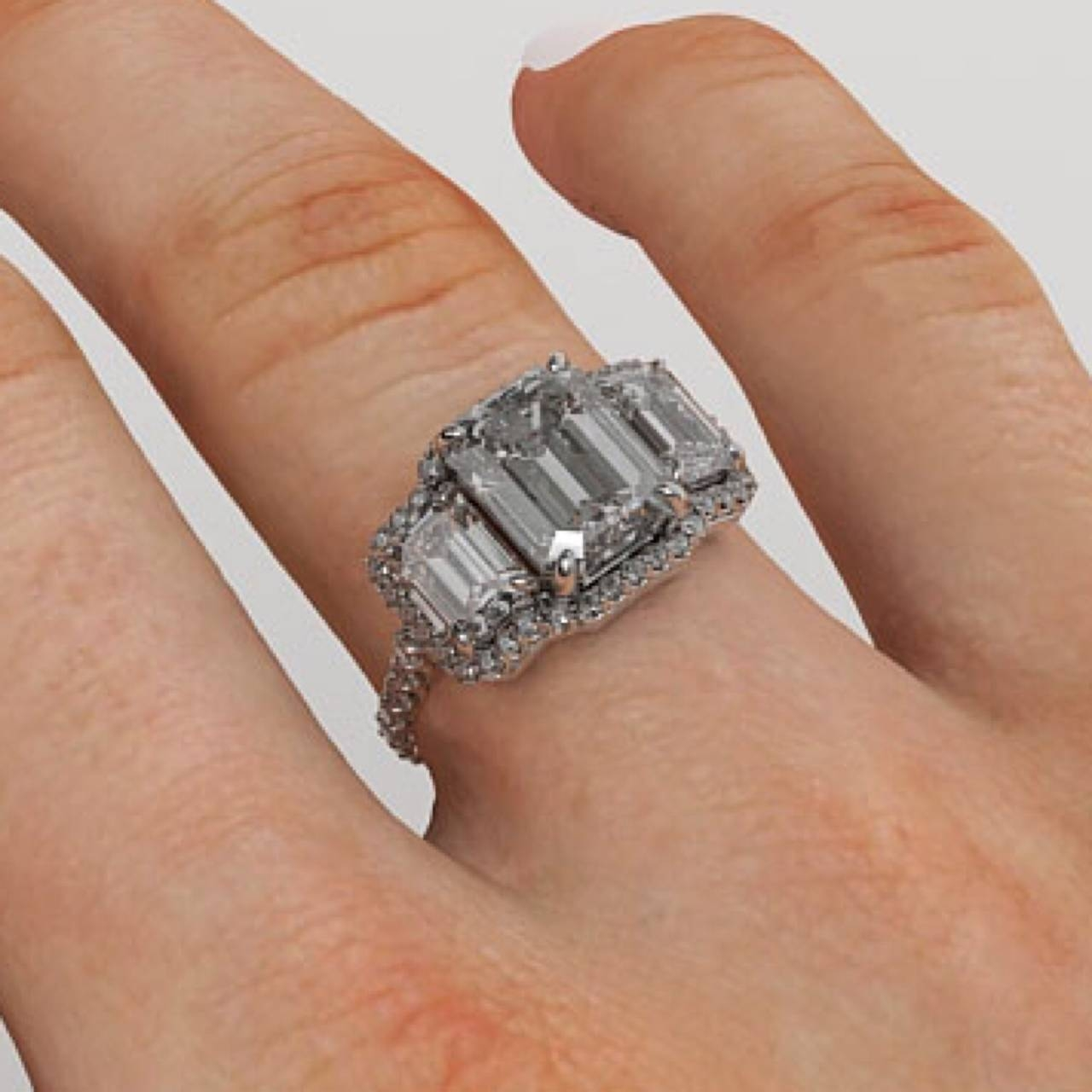 Free Diamond Rings. 3 Stone Emerald Cut Diamond Engagement Rings Regarding Emerald Cut Three Stone Diamond Engagement Rings (Gallery 5 of 15)
