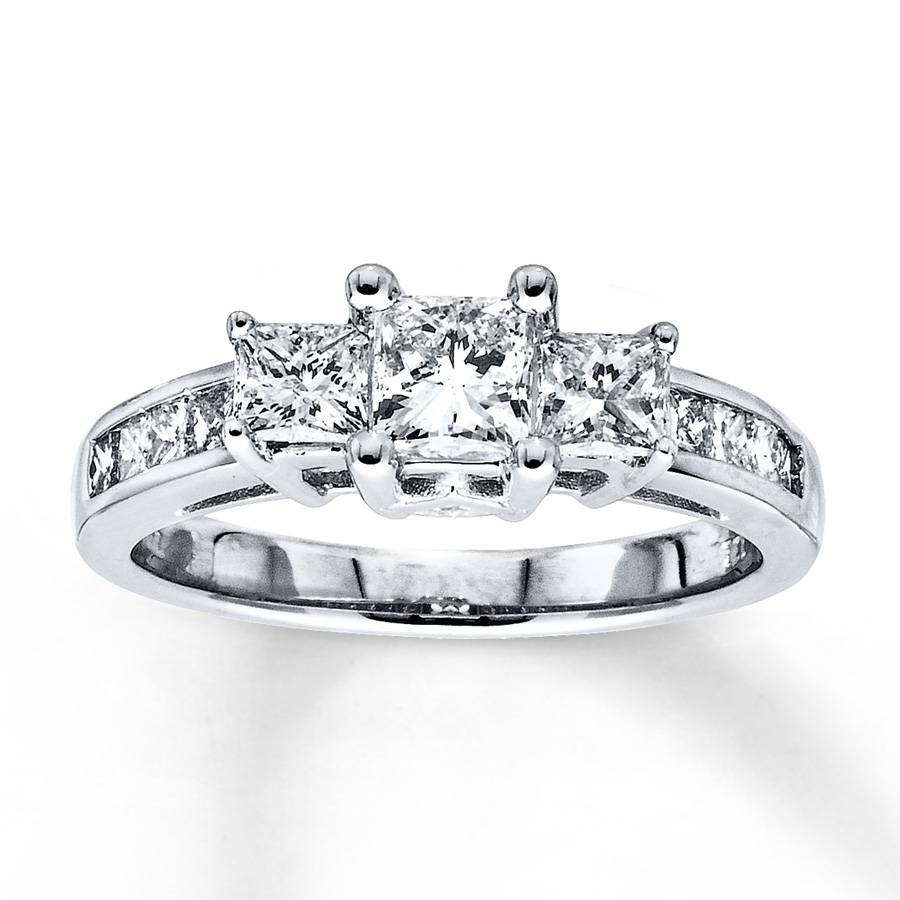 Free Diamond Rings. Three Stone Princess Cut Diamond Engagement Intended For Princess Cut Diamond Engagement Rings With Side Stones (Gallery 12 of 15)