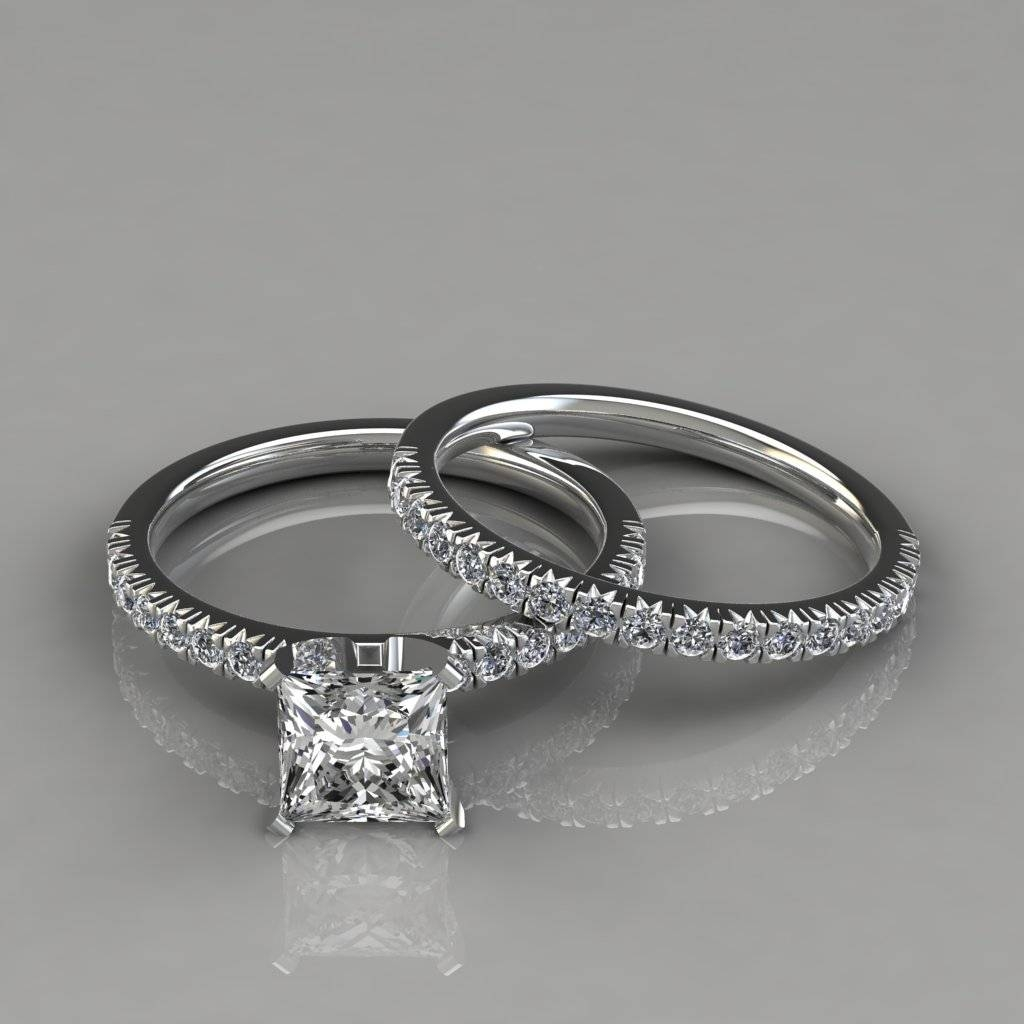 French Cut Pavé Cushion Cut Halo Engagement Ring – Puregemsjewels For Newest Pave Setting Wedding Bands (View 5 of 15)