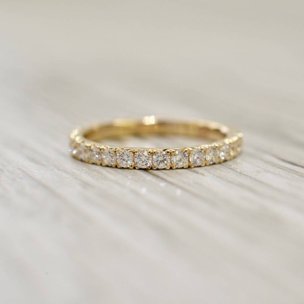 French Pavé Eternity Band 2.2Mm ..90Cttw In Yellow Inside Most Popular French Wedding Bands (Gallery 10 of 15)
