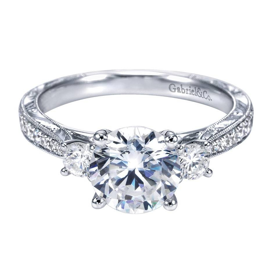 Gabriel Co 14K White Gold Victorian 3 Stone Engagement Ring In Victorian Engagement Rings (View 8 of 15)