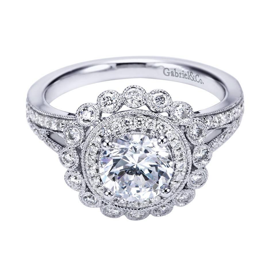 Gabriel Co 14k White Gold Victorian Halo Engagement Ring Within Victorian Engagement Rings (Gallery 9 of 15)