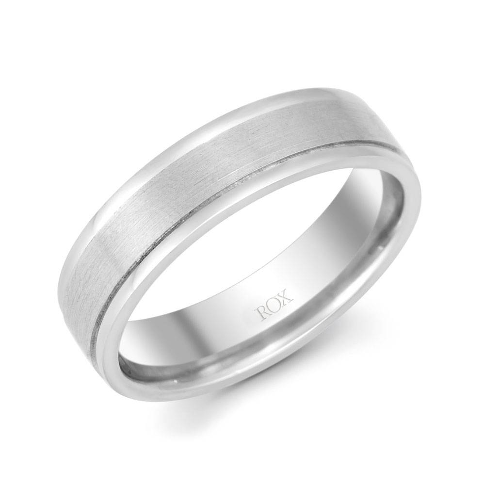 Gents Palladium Brushed And Polished Ring 6Mm | Rox With Latest Palladium Wedding Bands For Women (View 2 of 15)