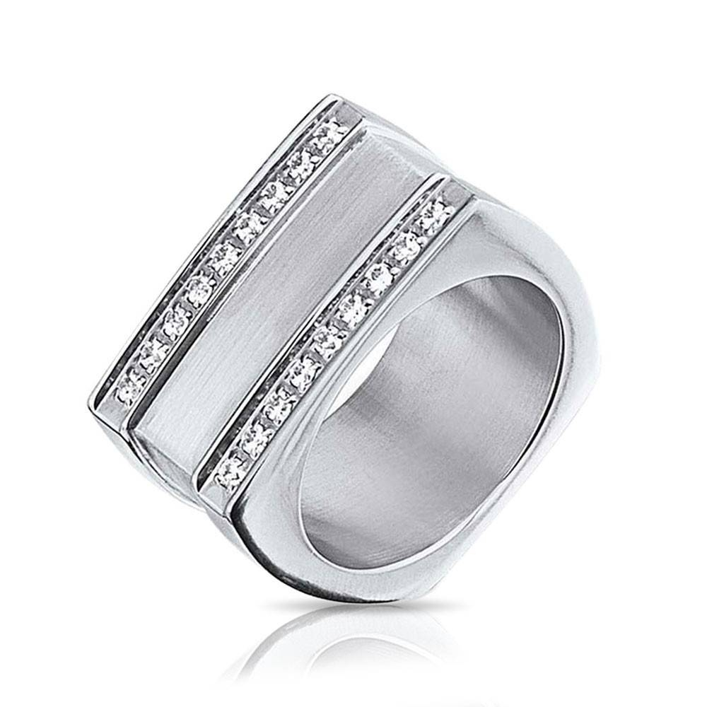 Geometric Square Grooved Two Row Cz Stainless Steel Mens Ring Pertaining To Mens Square Wedding Bands (View 4 of 15)