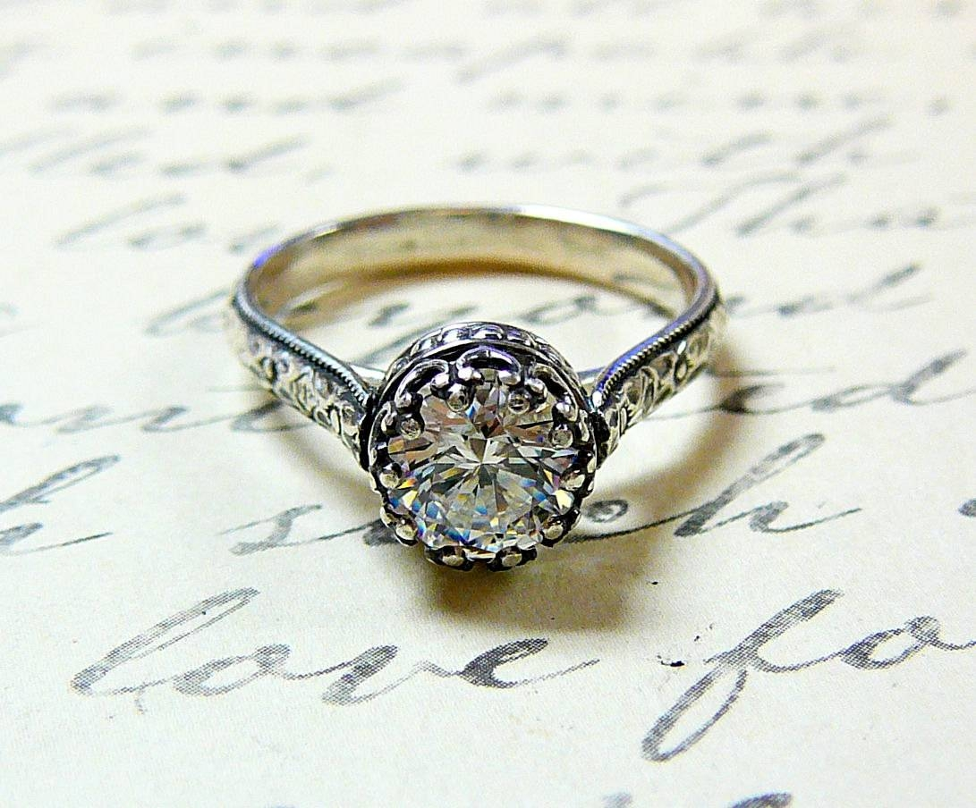 Georgiana Ring Vintage Engagement Sterling Silver Swarovski With Swarovski Wedding Bands (View 10 of 15)