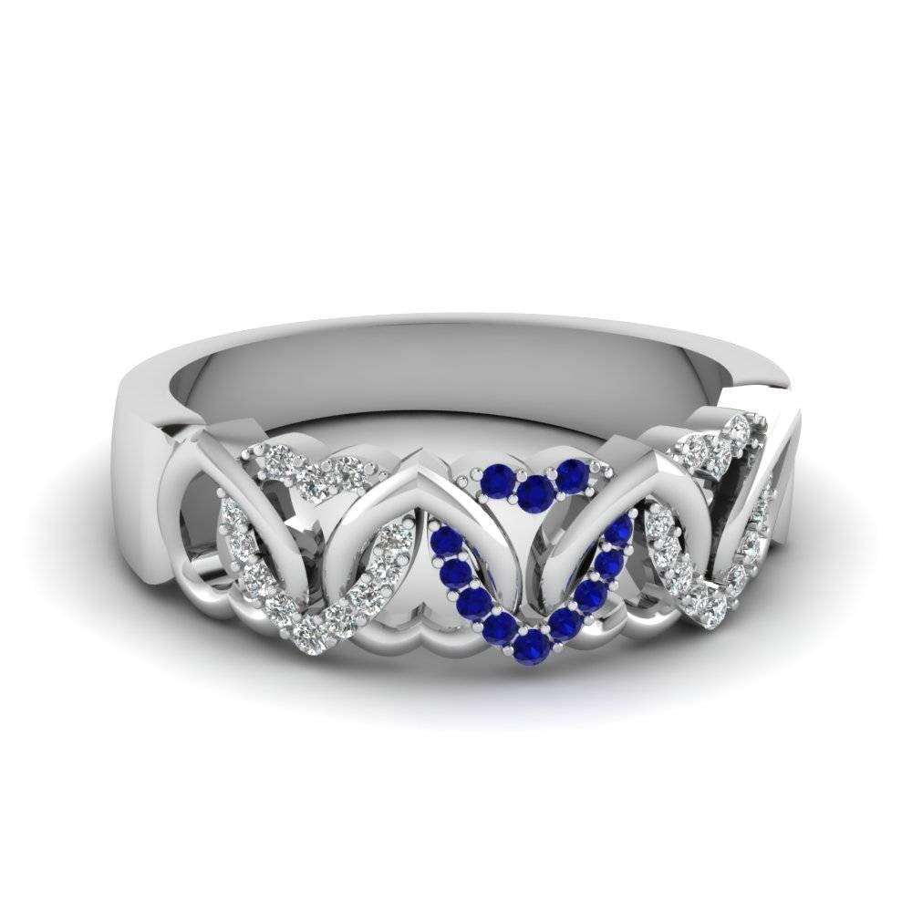 Get Mesmerizedeternal Blue Sapphire Wedding Rings| Fascinating Throughout Wedding Bands With Gemstones (View 13 of 15)