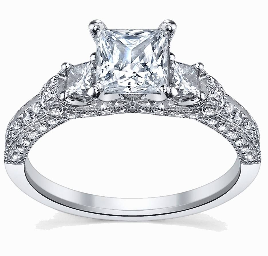 Glamorous Antique Engagement Ring 1.00 Carat Princess Cut Diamond Throughout 10k Diamond Engagement Rings (Gallery 12 of 15)