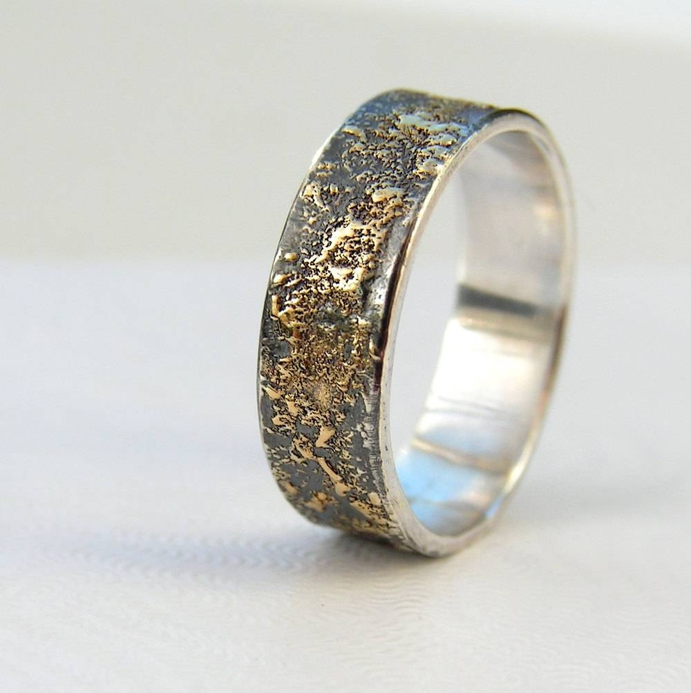 Gold Chaos Rustic Men's Wedding Ring In 18Kt Gold And In Male Silver Wedding Bands (View 3 of 15)