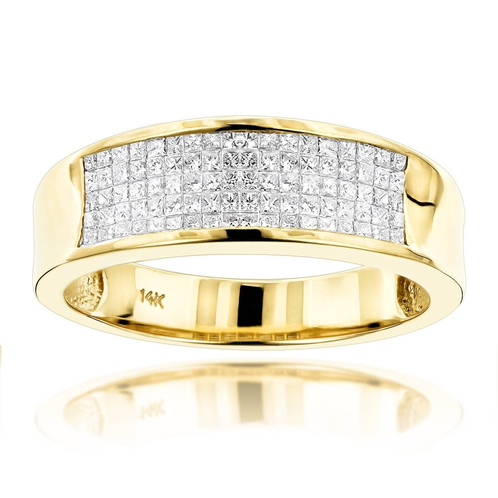 Gold Princess Cut Diamond Mens Wedding Ring  (View 7 of 15)