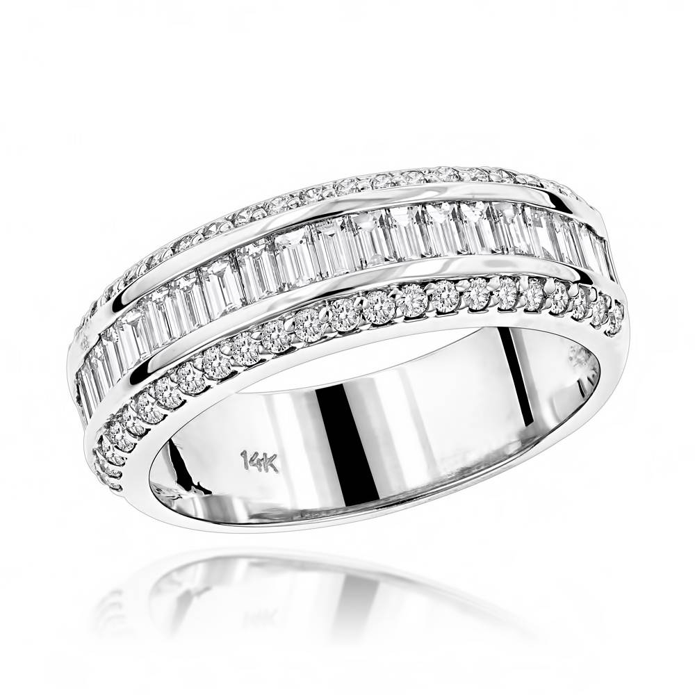 Gold Round Baguette Diamond Wedding Band (View 8 of 15)