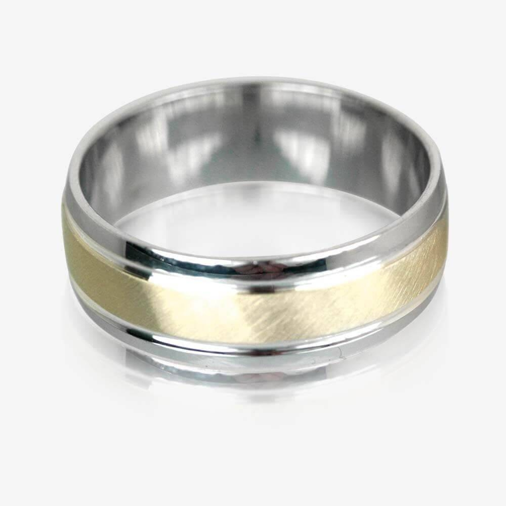 Gold & Sterling Silver Luxury Weight Men's Wedding Ring 7mm Pertaining To Silver Mens Wedding Rings (View 4 of 15)