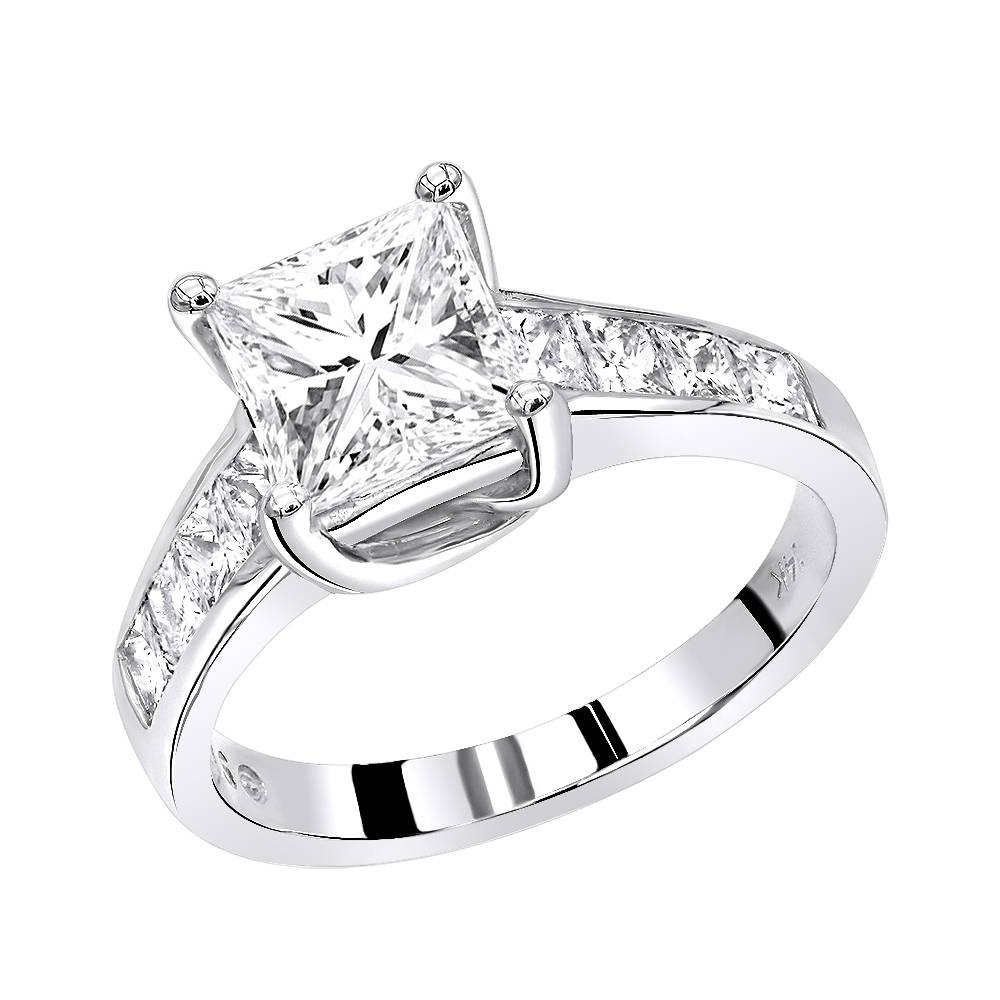 Gold Unique Princess Cut Diamond Engagement Ring  (View 6 of 15)