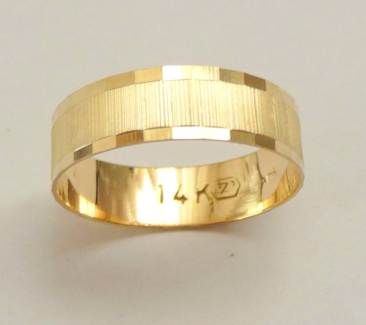 Gold Wedding Band Men Wedding Ring 6Mm Wide Ring For Women Intended For Male Gold Wedding Rings (View 7 of 15)