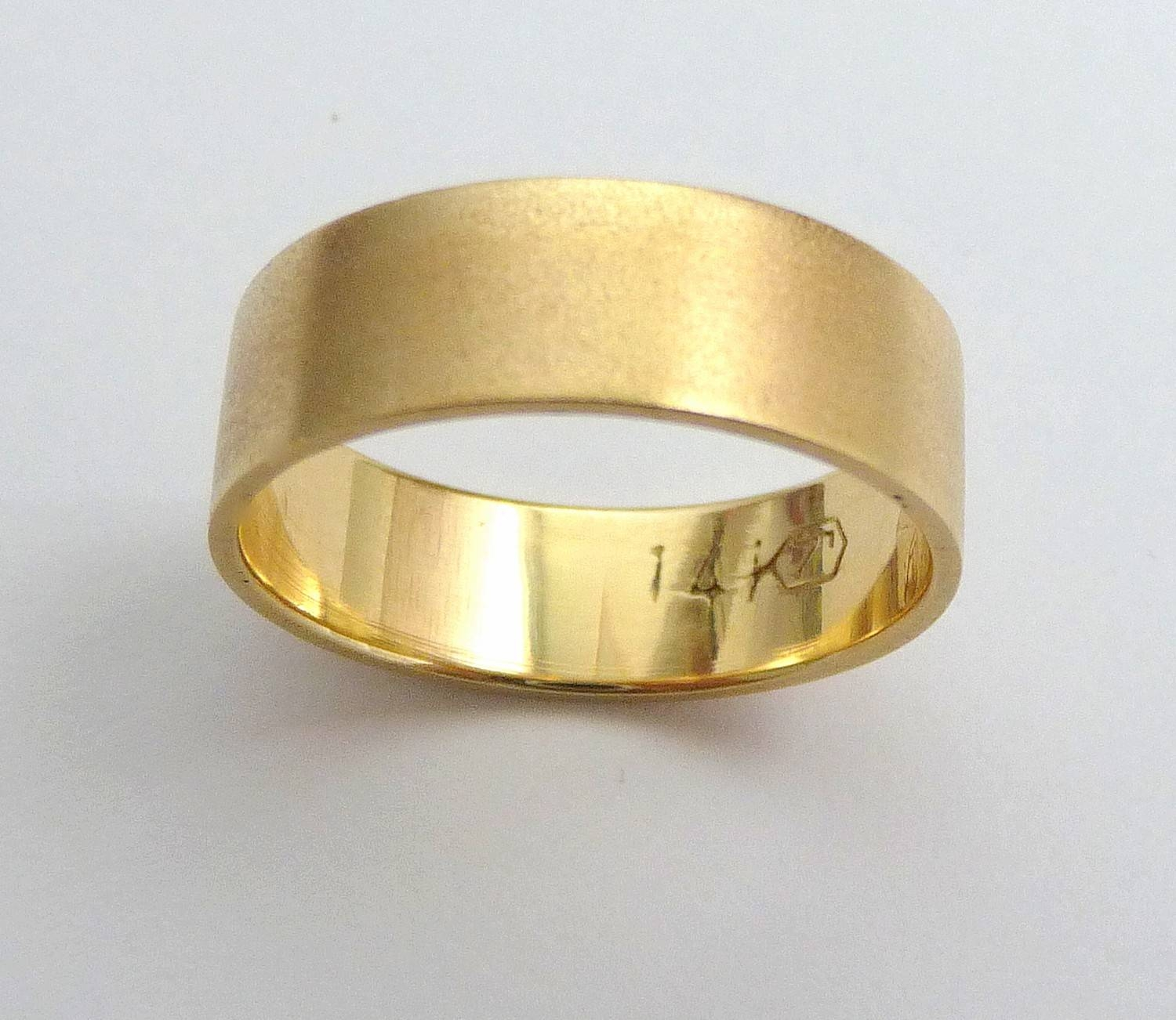 Gold Wedding Band Men Wedding Ring Flat With Sandblast Finish With Regard To Yellow Gold Wedding Bands For Men (View 11 of 15)