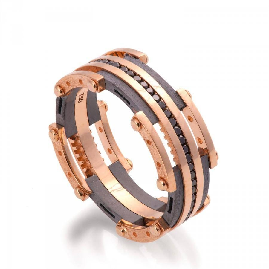 Gold Wedding Band, Men's 18K Rose Gold And Black Diamond Wedding Throughout Black And Gold Wedding Bands For Men (View 10 of 15)