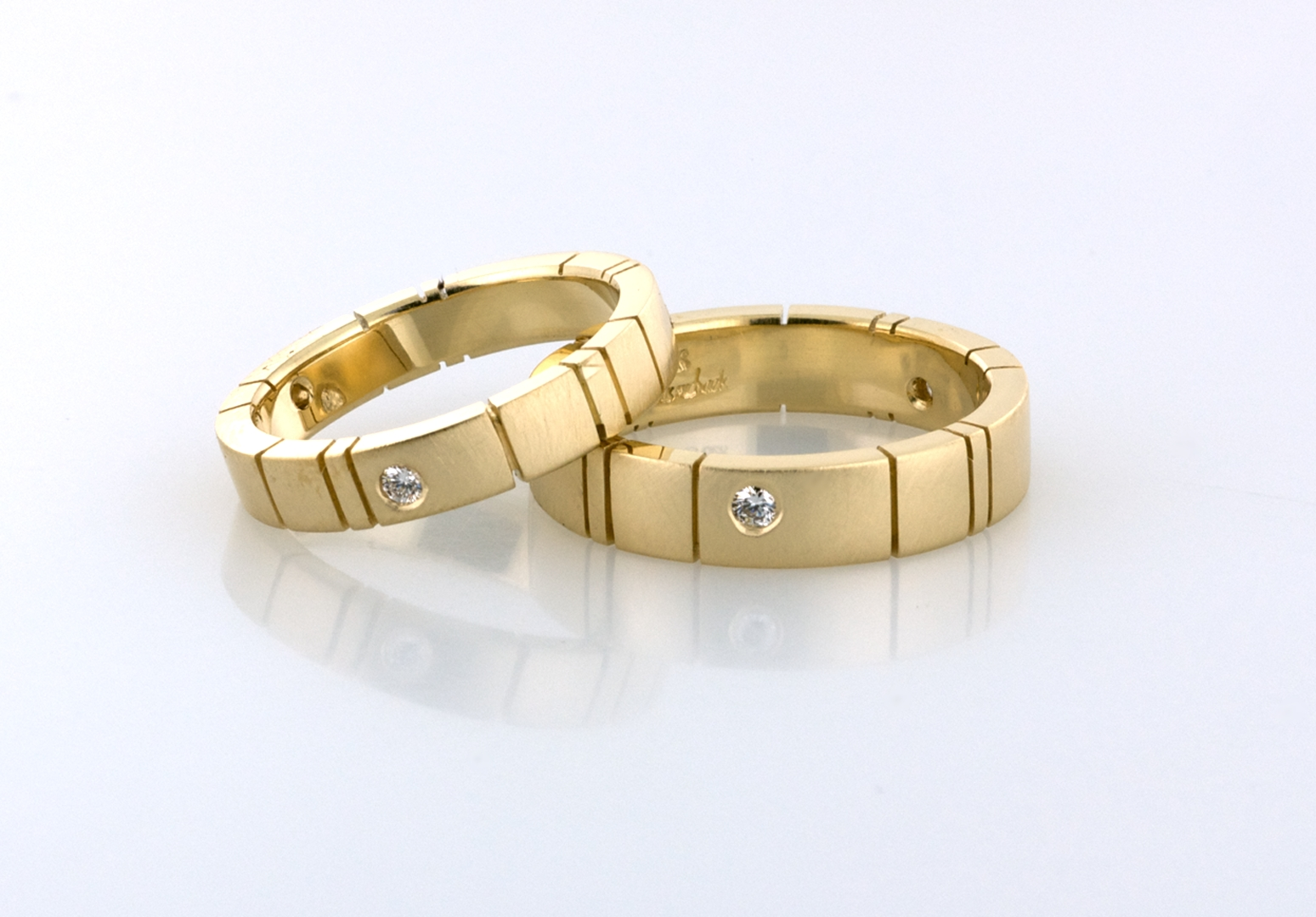 Gold Wedding Bands With Diamond Accents R1010 | Wedding Bands Pertaining To Anniversary Wedding Bands Sets (View 9 of 15)