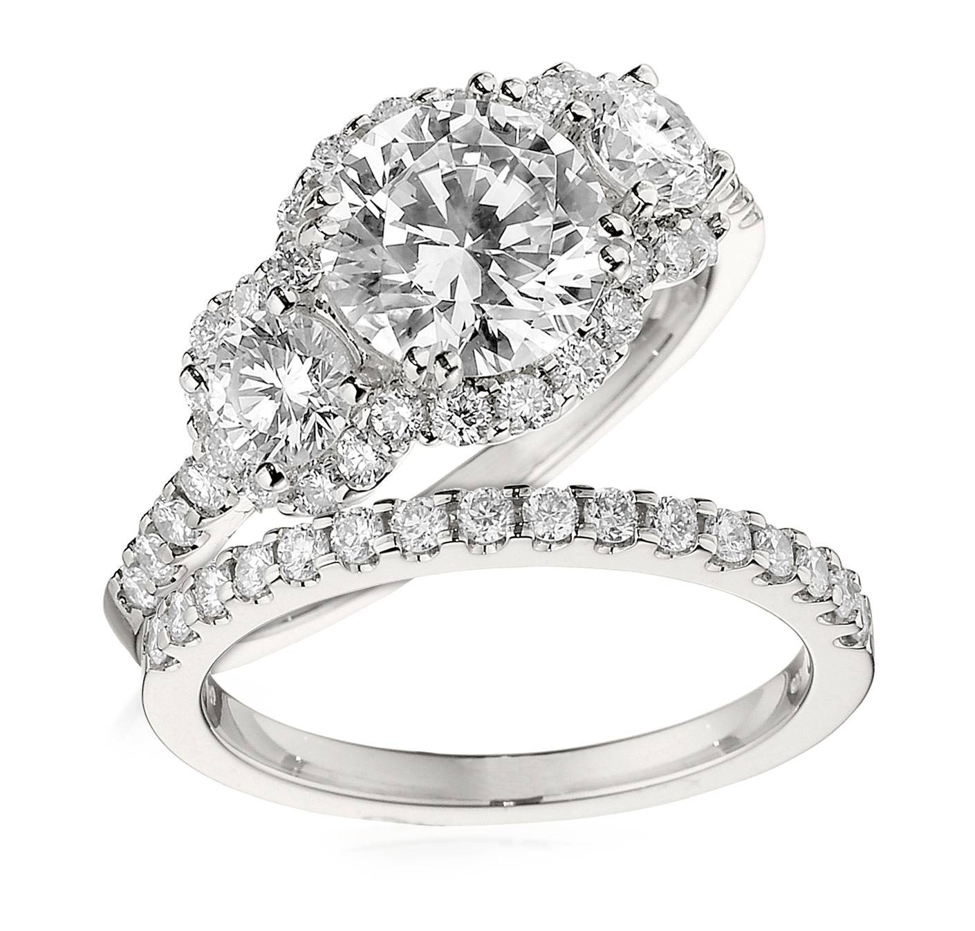 Gottlieb & Sons Engagement Ring Set: Three Stone Halo Regarding 3 Stone Halo Engagement Ring Settings (View 6 of 15)