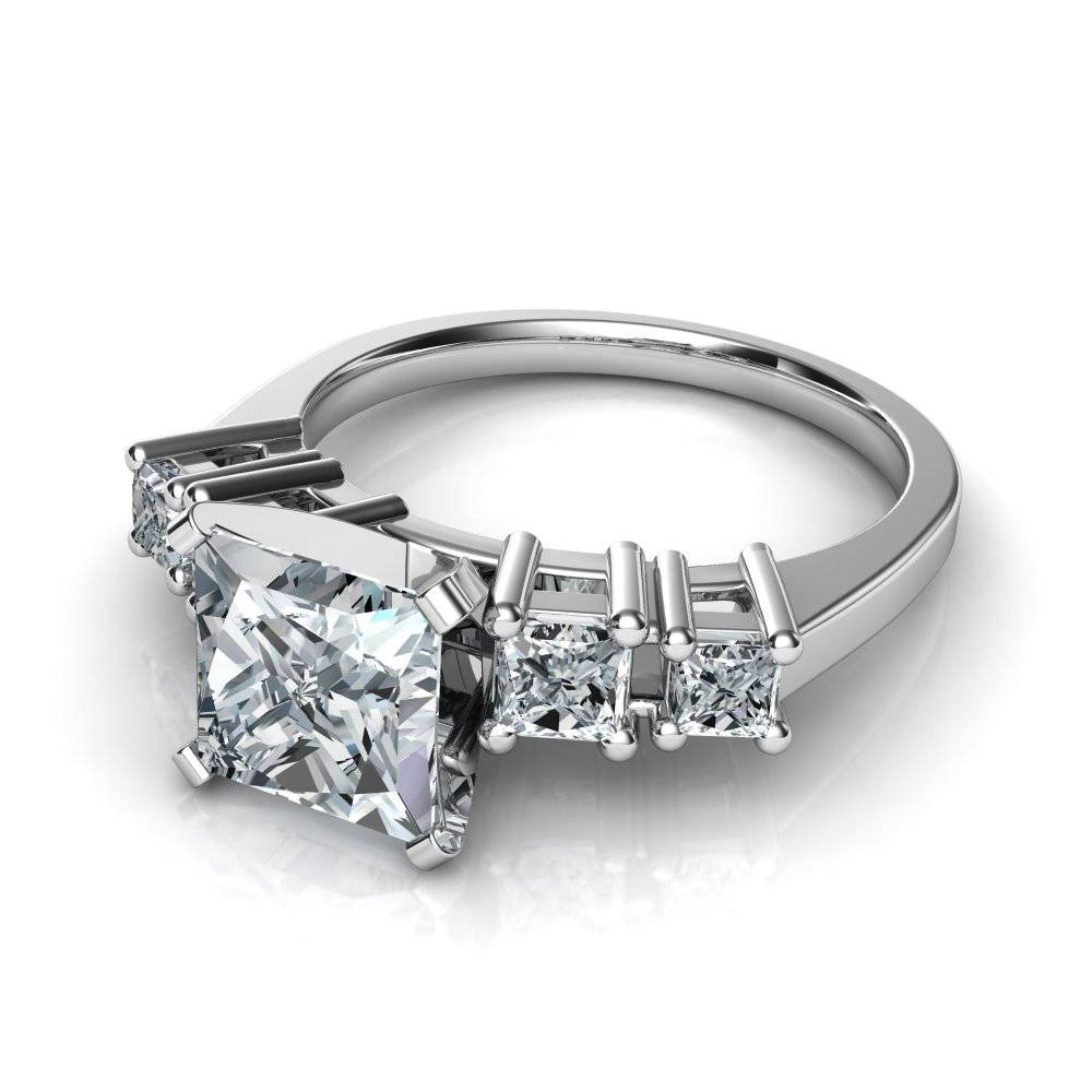 Graduated Five Stone Princess Cut Diamond Engagement Ring Pertaining To 5 Diamond Engagement Rings (View 8 of 15)