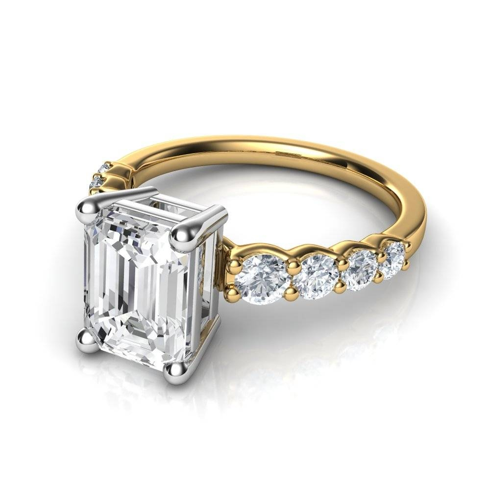 Graduated Side Stone Emerald Cut Diamond Engagement Ring For Engagement Rings With Side Diamonds (View 14 of 15)