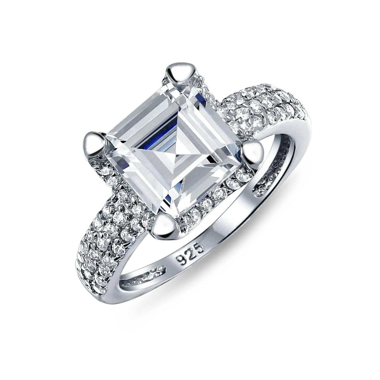 Great Gatsby Inspired Sterling Asscher Cut Cz Engagement Ring 3Ct Regarding Most Recently Released Asscher Cut Wedding Bands (View 7 of 15)
