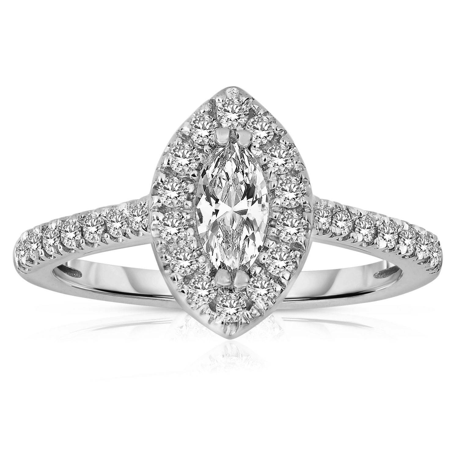 Half Carat Marquise Cut Halo Diamond Engagement Ring In White Gold For White Gold Marquise Diamond Engagement Rings (View 6 of 15)
