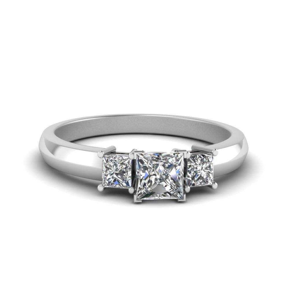 Half Carat Three Stone Princess Cut Engagement Ring In 18K White Within Simple Princess Cut Diamond Engagement Rings (Gallery 1 of 15)