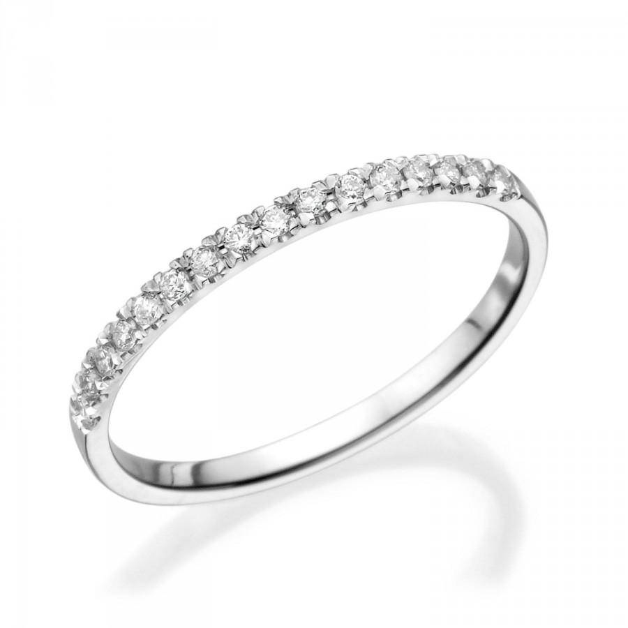 Half Eternity Wedding Band, 14K White Gold Ring,  (View 11 of 15)