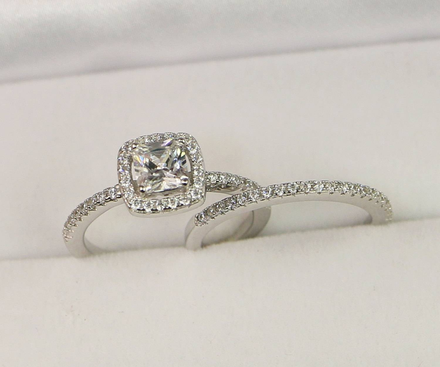 Halo Engagement Ring Wedding Ring Set Sterling Silver Pertaining To Small Size Engagement Rings (Gallery 14 of 15)